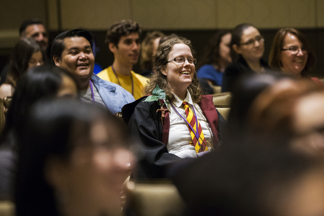 Elisabeth Dowden shares a laugh with attendees at LeviosaCon, a Harry Potter convention, on Friday, July 8, 2016, at Green Valley Ranch in Henderson. (Benjamin Hager/Las Vegas Review-Journal)