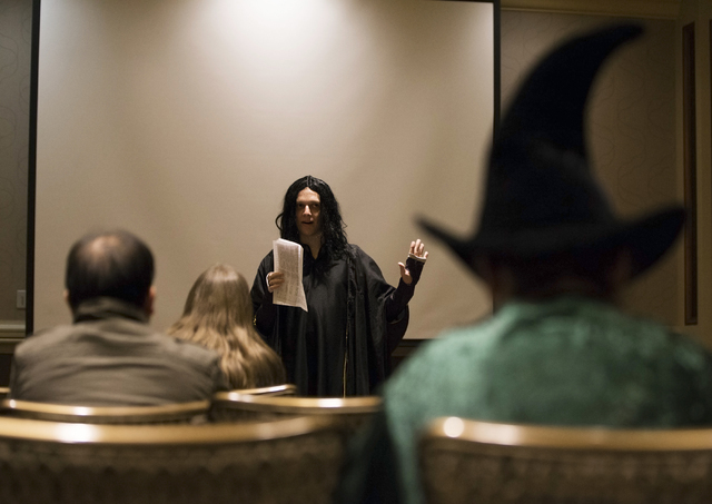 """""""Irvin"""" leads an essay discussion during LeviosaCon, a Harry Potter convention, on Friday, July 8, 2016, at Green Valley Ranch in Henderson. (Benjamin Hager/Las Vegas Review-Journal)"""