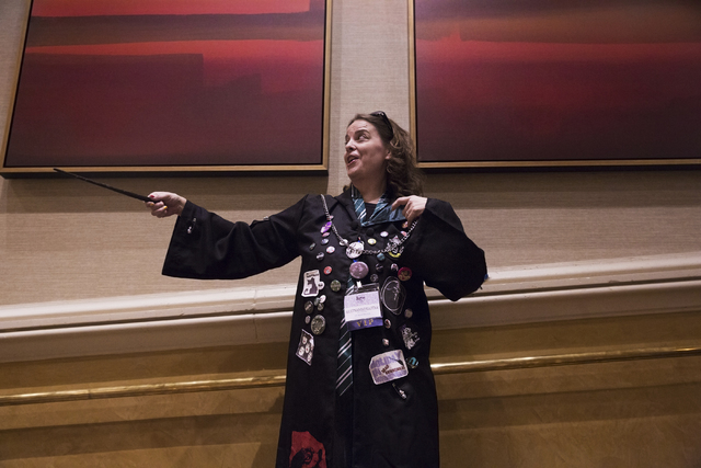 Margaret Petria practices her spells during LeviosaCon, a Harry Potter convention on Friday, July 8, 2016, at Green Valley Ranch in Henderson. (Benjamin Hager/Las Vegas Review-Journal)
