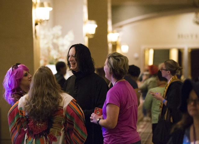 Vladimir Nigel Taylor, middle, interacts with attendees during LeviosaCon, a Harry Potter convention, on Friday, July 8, 2016, at Green Valley Ranch in Henderson. (Benjamin Hager/Las Vegas Review- ...