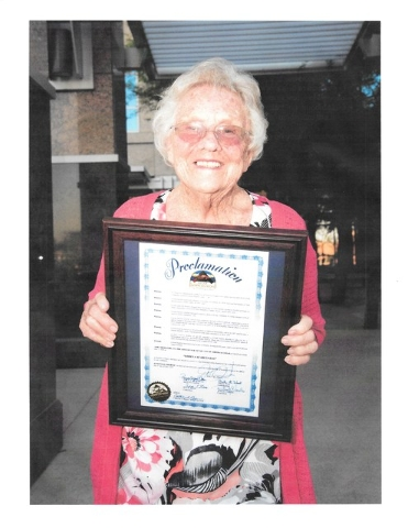 """Lorena """"Renee"""" Searles poses for a photo outside of North Las Vegas City Hall, 2250 N. Las Vegas Blvd., North, June 1. North Las Vegas Mayor John Lee honored her with a proclamation that decla ..."""