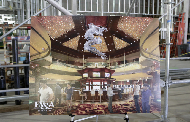 Artist's rendering of the under-construction of Lucky Dragon hotel-casino is displayed during a tour at 300 W. Sahara Ave., on Thursday, July 7, 2016. Bizuayehu Tesfaye/Las Vegas Review-Journal Fo ...