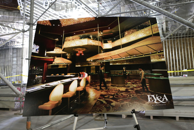 Artist's rendering of the gaming area of the under-construction of Lucky Dragon hotel-casino is displayed during a tour at 300 W. Sahara Ave.,  on Thursday, July 7, 2016. Bizuayehu Tesfaye/Las Veg ...
