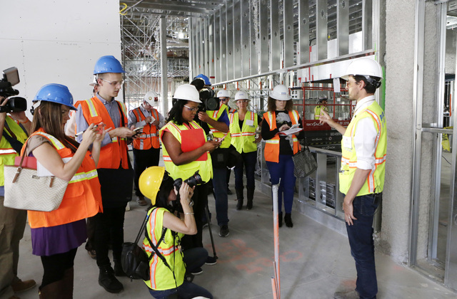 Lucky Dragon COO David Jacoby, right, speaks to the media during a tour of the under-construction of Lucky Dragon hotel-casino on Thursday, July 7, 2016. Bizuayehu Tesfaye/Las Vegas Review-Journal ...