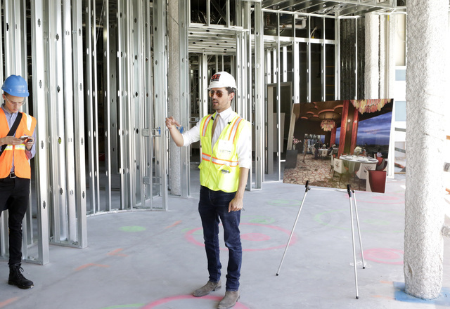 Lucky Dragon COO David Jacoby speaks to the media during a tour of the fine dining restaurant inside the under-construction of Lucky Dragon hotel-casino at 300 W. Sahara Ave., on Thursday, July 7, ...
