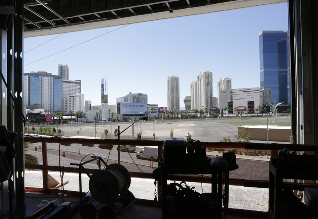 The Las Vegas Strip as seen from a standard room inside the under-construction of Lucky Dragon hotel-casino at 300 W. Sahara Ave., on Thursday, July 7, 2016. Bizuayehu Tesfaye/Las Vegas Review-Jou ...