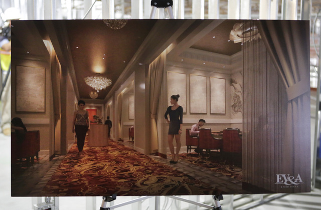 Artist's rendering of the VIP area inside the under-construction of Lucky Dragon hotel-casino is displayed during a tour on at 300 W. Sahara Ave., Thursday, July 7, 2016. Bizuayehu Tesfaye/Las Veg ...