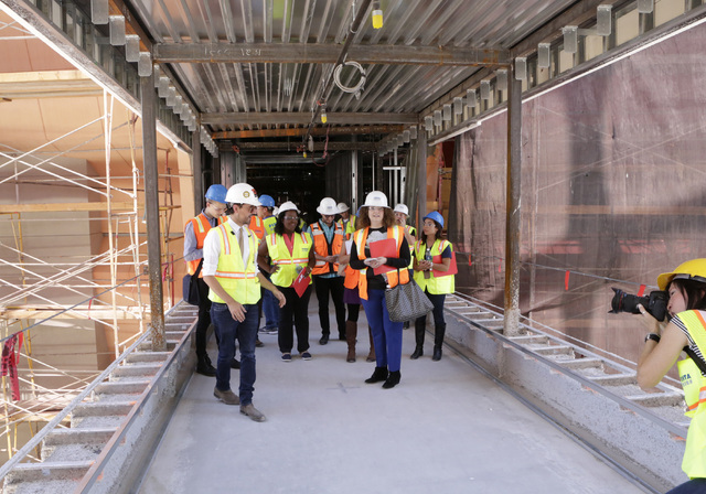 Lucky Dragon COO David Jacoby, left, leads a tour of the under-construction of Lucky Dragon hotel-casino at 300 W. Sahara Ave., on Thursday, July 7, 2016. Bizuayehu Tesfaye/Las Vegas Review-Journa ...