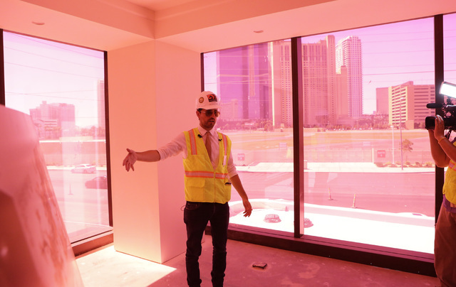Lucky Dragon COO David Jacoby speaks to the media during a tour of the standard room inside the under-construction of Lucky Dragon hotel-casino at 300 W. Sahara Ave., on Thursday, July 7, 2016. Bi ...
