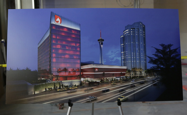 Artist's rendering of the under-construction of Lucky Dragon hotel-casino is displayed during the hard hat tour at 300 W. Sahara Ave., on Thursday, July 7, 2016. Bizuayehu Tesfaye/Las Vegas Review ...