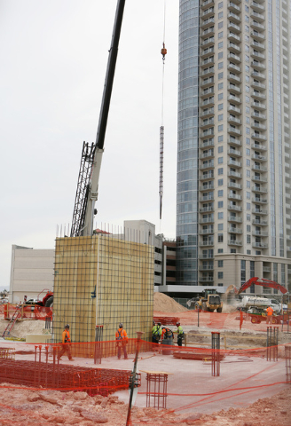 Construction is shown for Lucky Dragon hotel-casino Friday, May 22, 2015, in Las Vegas. The PENTA Building Group broke ground on the site of the boutique Asian-themed resort, located at 300 W. Sah ...