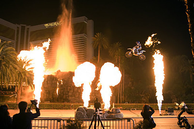 Robbie Knievel, son of late daredevil motorcyclist Evel Knievel, jumps over the newly revamped Mirage volcano on New Year's Eve Wednesday, Dec. 31, 2008. (K.M. Cannon/Las Vegas Review-Journal)