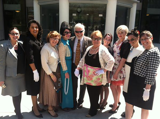 """From left, shown on """"Mad  Men Monday"""" at the Legislature, are Victoria Cloobaugh, Nevada Justice Association; Assemblywoman Oliva Diaz; Elisa Cafferata, Nevada Advocates for Planned Parenthood Aff ..."""