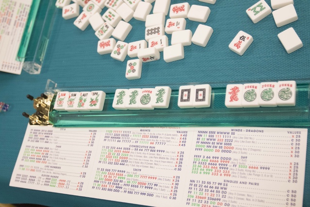 Mahjong tiles and a game card are seen on a table during the Mah Jongg World Championship at the Westgate Las Vegas hotel-casino in Las Vegas on Saturday, July 23, 2016. Richard Brian/Las Vegas Re ...