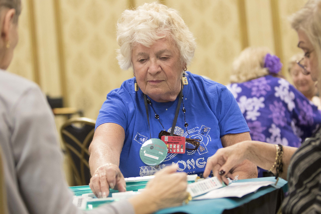 Ruth Hart of Englewood, Fla. plays during the Mah Jongg World Championship at the Westgate Las Vegas hotel-casino in Las Vegas on Saturday, July 23, 2016. Richard Brian/Las Vegas Review-Journal Fo ...