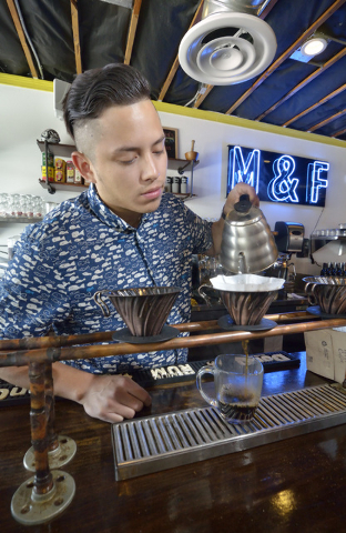 Josh Molina, co-owner of Makers and Finders, prepares coffee in the shop at 1120 S. Main St. in Las Vegas on Wednesday, July 13, 2016. Bill Hughes/Las Vegas Review-Journal
