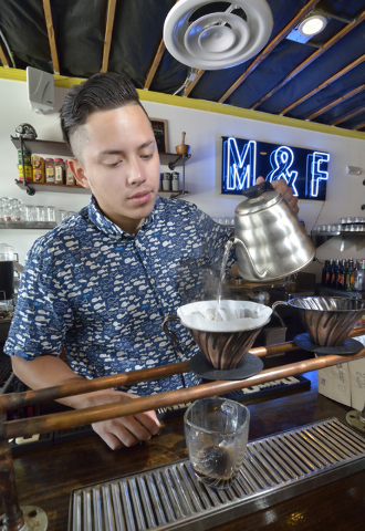 Josh Molina, co-owner of Makers and Finders, prepares coffee in the shop at 1120 S. Main St. in Las Vegas on Wednesday, July 13, 2016. (Bill Hughes/Las Vegas Review-Journal)