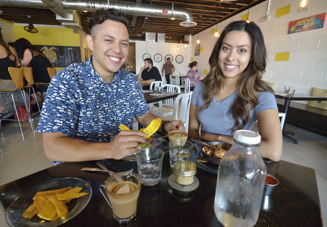 Josh Molina and Valeria Varela, co-owners of Makers and Finders, are shown at the coffee shop at 1120 S. Main St. in Las Vegas on Wednesday, July 13, 2016. (Bill Hughes/Las Vegas Review-Journal)