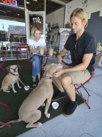 Megan Stevenson and Tom Shepherd hang out on the patio with their dogs Jackson, left, and Beau at Makers and Finders at 1120 S. Main St. in Las Vegas on Wednesday, July 13, 2016. (Bill Hughes/Las  ...