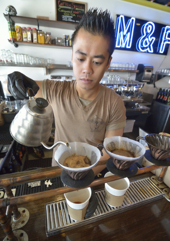 Barista Marwan Agbanlog prepares a cup of coffee at Makers and Finders at 1120 S. Main St. in Las Vegas on Wednesday, July 13, 2016. Bill Hughes/Las Vegas Review-Journal