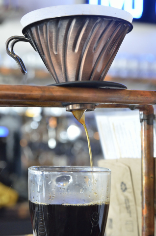 A cup of coffee is shown being brewed at Makers and Finders at 1120 S. Main St. in Las Vegas on Wednesday, July 13, 2016. (Bill Hughes/Las Vegas Review-Journal)