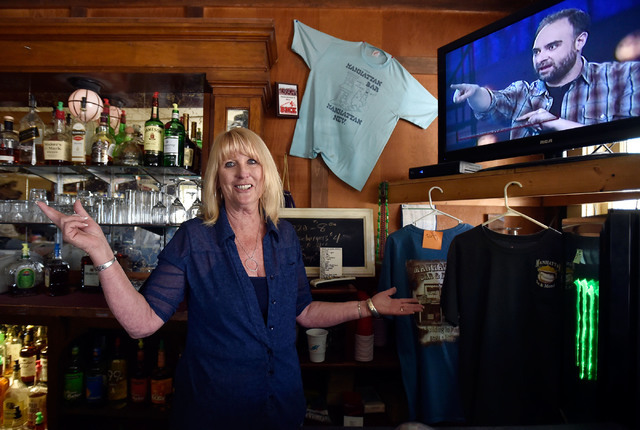 Bartender Sandy Crawford looks on at the Manhattan Bar Thursday, June 9, 2016, in Manhattan, Nev. The old-time bar has served its customers for decades in the high desert mountain mining community ...