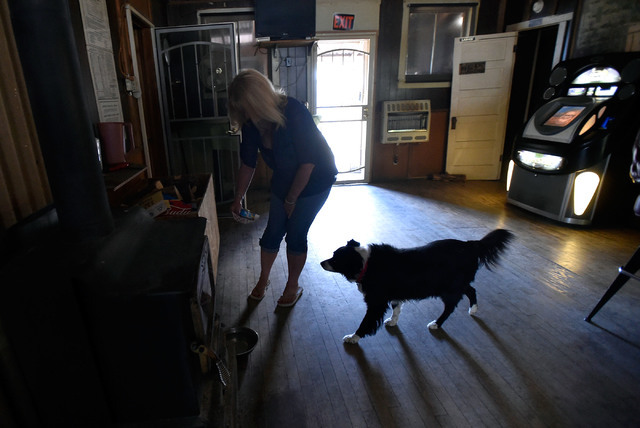 Bartender Sandy Crawford feeds her dog, Lady, at the Manhattan Bar Thursday, June 9, 2016, in Manhattan, Nev. The old-time and dog friendly bar has served its customers for decades in the high des ...