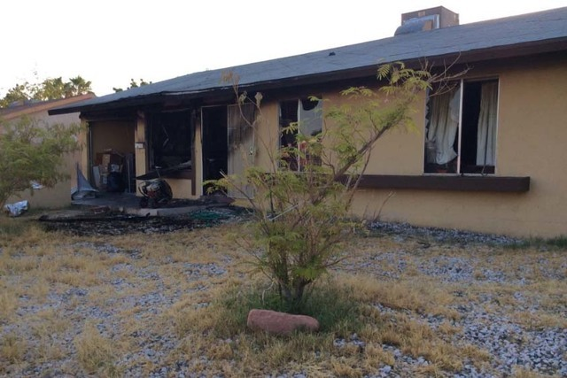 Two people were injured in a house fire at 1009 Marion Drive in east Las Vegas early Wednesday morning, July 27, 2016. (Twitter/Las Vegas Fire Department)