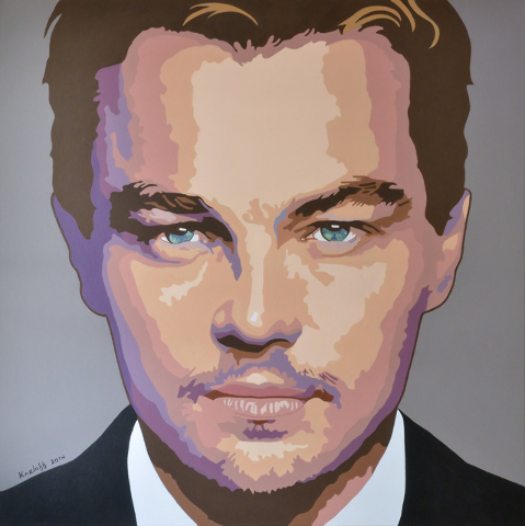 A painting of Leonardo DiCaprio by artist Martin Kreloff is shown. His work is on display at the Sahara West Library through Aug. 6. View file photo