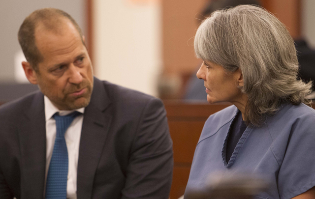 Jerry Nann Meador, right, talks with her attorney Ross Goodman prior to appearing before District Judge Jessie Walsh at the Regional Justice Center in downtown Las Vegas on Monday, July 25, 2016.  ...