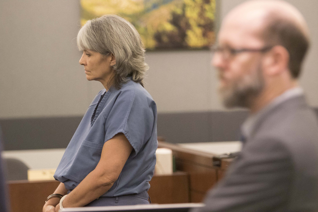Jerry Nann Meador, left, appears with her attorney Dayvid Figler before District Judge Jessie Walsh at the Regional Justice Center in downtown Las Vegas on Monday, July 25, 2016. Richard Brian/Las ...