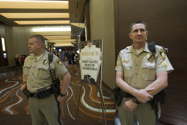 Officers stand guard during Metro's fourth annual Best of the Badge Gala held at Red Rock Resort Spa and Casino in the Summerlin area of Las Vegas on Friday, July 8, 2016.  (Richard Brian/Las Ve ...