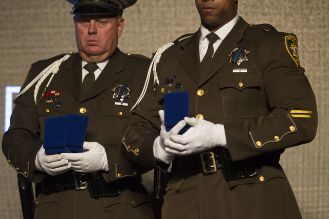 Members of the Las Vegas Metropolitan Honor Guard are seen on stage during Metro's fourth annual Best of the Badge Gala held at Red Rock Resort Spa and Casino in the Summerlin area of Las Vegas  ...