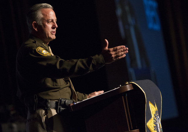 Sheriff Joe Lombardo speaks to the crowd during Metro's fourth annual Best of the Badge Gala held at Red Rock Resort Spa and Casino in the Summerlin area of Las Vegas on Friday, July 8, 2016.  ( ...
