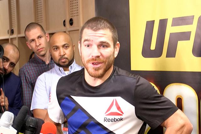 UFC lightweight Jim Miller talks to media about retirement. (Heidi Fang/Las Vegas Review-Journal)