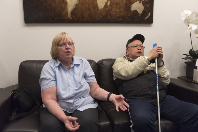 Alzheimer's patient Jay Casero, right, and his wife, Dixie Casero, speak with a reporter about the Mindset study at Dr. Bharat Mocherla's office in Las Vegas Thursday, May 26, 2016. The Mindset st ...