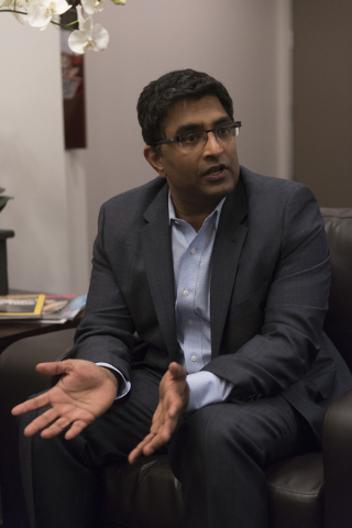 Dr. Bharat Mocherla speaks with a reporter about the Mindset study at his office in Las Vegas Thursday, May 26, 2016. The Mindset study is a stage 3 clinical trial for Alzheimer's patients. Jason  ...