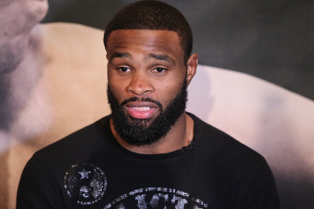 Tyron Woodley is interviewed during media day for the upcoming Ultimate Fighting Championship 183 at the MGM Grand casino-hotel in Las Vegas Thursday, Jan. 29, 2015. Woodley is scheduled to fight  ...