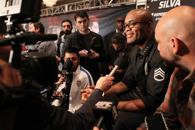 Anderson Silva is interviewed during media day for the upcoming Ultimate Fighting Championship 183 at the MGM Grand casino-hotel in Las Vegas Thursday, Jan. 29, 2015. Silva is scheduled to fight N ...