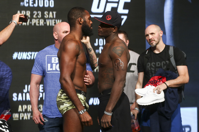 UFC light heavyweight fighters Jon Jones, left, and Ovince Saint Preux pose ahead of UFC 197 at the MGM Grand hotel-casino in Las Vegas on Friday, April 22, 2016. Chase Stevens/Las Vegas Review-Jo ...