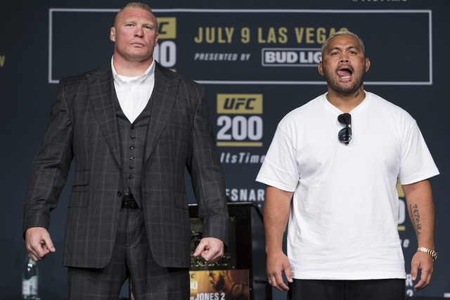 Brock Lesnar, left, and Mark Hunt pose during the UFC 200 press conference at MGM Grand hotel-casino on Tuesday, July 5, 2016, in Las Vegas. Erik Verduzco/Las Vegas Review-Journal Follow @Erik_Ver ...