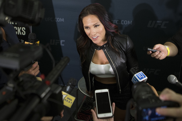 Cat Zingano speaks during an UFC 200 media event at the MGM Grand hotel-casino on Tuesday, July 5, 2016, in Las Vegas. Erik Verduzco/Las Vegas Review-Journal Follow @Erik_Verduzco