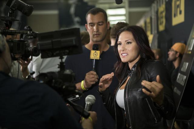 Cat Zingano speaks during an UFC 200 media event at the MGM Grand hotel-casino on Tuesday, July 5, 2016, in Las Vegas. Erik Verduzco/Las Vegas Review-Journal Follow @Erik_Verduzco