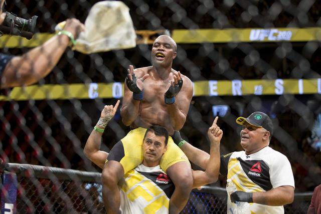 Anderson Silva reacts after his fight against Daniel Cormier in the light heavyweight bout during UFC 200 at T-Mobile Arena on Saturday, July 9, 2016, in Las Vegas. Cormier won my unanimous decisi ...