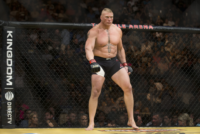 Brock Lesnar gets ready to fight against Mark Hunt in the heavyweight bout during UFC 200 at T-Mobile Arena on Saturday, July 9, 2016, in Las Vegas. Lesnar won by unanimous decision. (Erik Verduzc ...