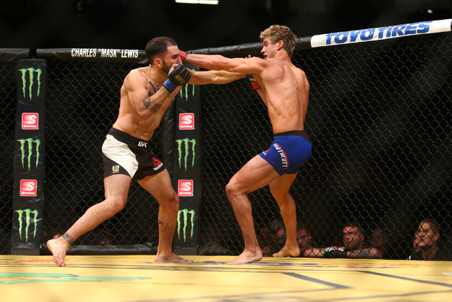 Sage Northcutt lands a strike against Enrique Marin during their lightweight fight at UFC 200 at T-Mobile Arena in Las Vegas on Saturday, July 9, 2016. Loren Townsley/Las Vegas Review-Journal Foll ...