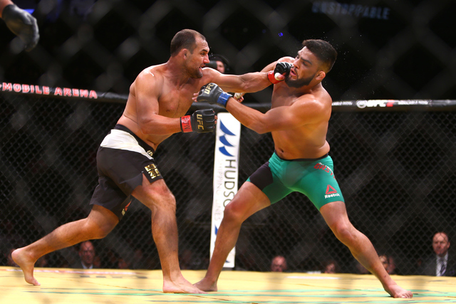 Johnny Hendricks lands a strike against Kelvin Gastelum during their welterweight fight at UFC 200 at T-Mobile Arena in Las Vegas on Saturday, July 9, 2016. Loren Townsley/Las Vegas Review-Journal ...