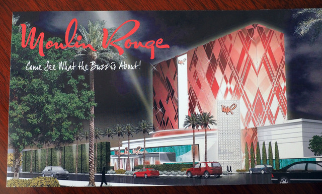 A brochure showing an artist's rendition of a possible Moulin Rouge is seen during a discussion of the Moulin Rouge economic situation during an interview at the Ward Five Chamber of Commerce in L ...