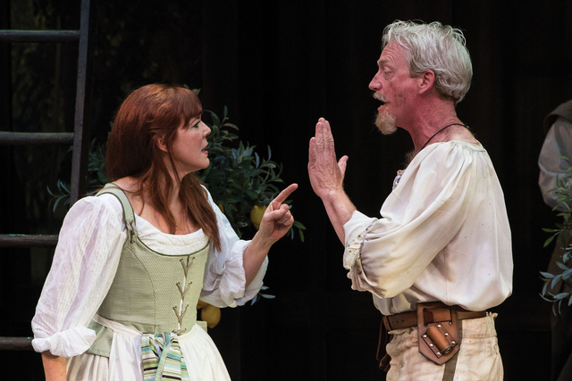 Kim Martin-Cotten (left) as Beatrice and Ben Livingston as Benedick in the Utah Shakespeare Festival's 2016 production of Much Ado about Nothing. (Karl Hugh/Utah Shakespeare Festival)