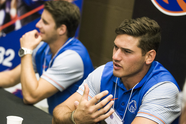 Boise State Broncos wide receiver Thomas Sperbeck, left, and linebacker Ben Weaver discuss the upcoming season during the Mountain West Football Media Day Tuesday, July 26, 2016, at Cosmopolitan o ...